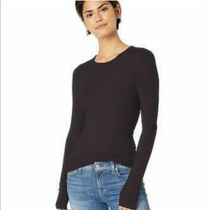 Enza Costa | Black Long Sleeve Fitted Tee Large